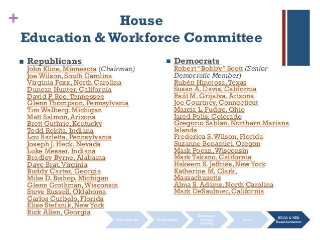 + House Education &Workforce Committee  Republicans John Kline, Minnesota (Chairman) Joe Wilson, South Carolina Virginia ...