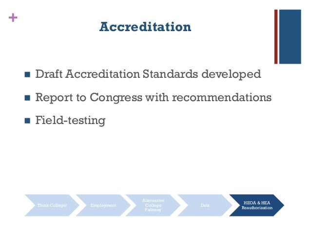 + Accreditation  Draft Accreditation Standards developed  Report to Congress with recommendations  Field-testing Think ...