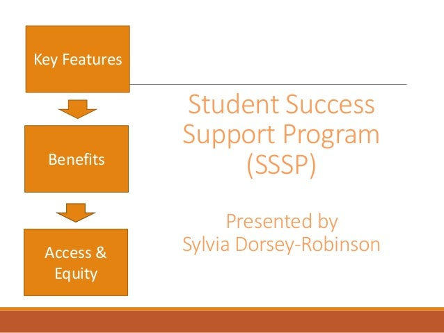 Student Success Support Program (SSSP) Presented by Sylvia Dorsey-Robinson Key Features Benefits Access & Equity