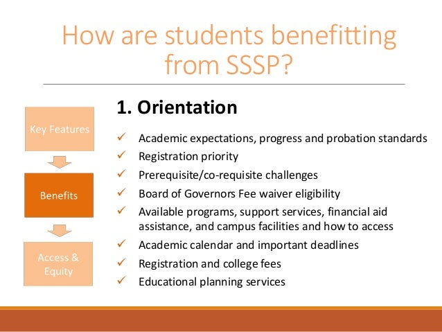How are students benefitting from SSSP? 1. Orientation  Academic expectations, progress and probation standards  Registr...