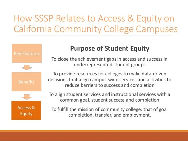 How SSSP Relates to Access & Equity on California Community College Campuses Purpose of Student Equity To close the achiev...