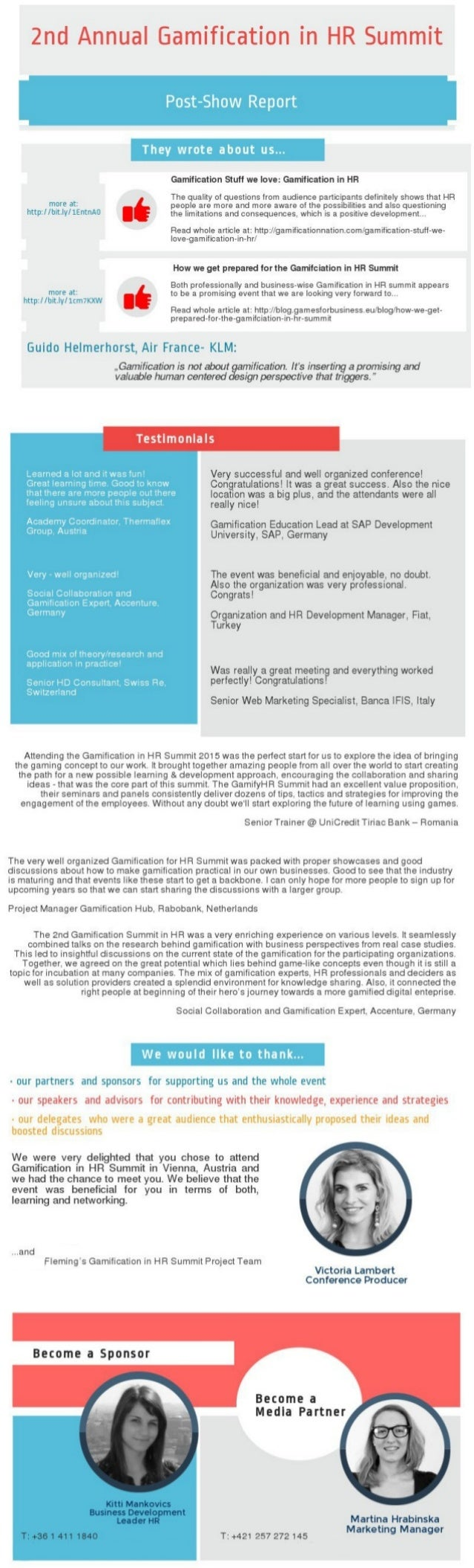 2nd Annual Gamification in HR Summit  Post-Show Report     They wrote about us. ..  Gamification Stuff we love:  Gamificat...