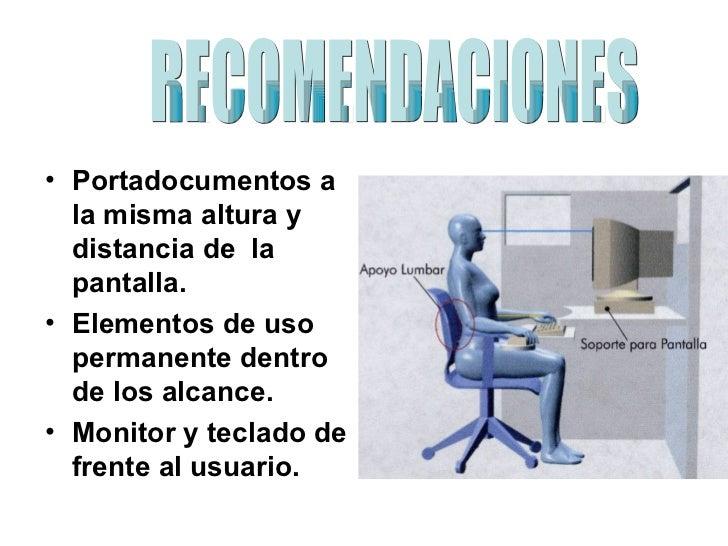 Posturas y ergonomia en la oficina for Recomendaciones ergonomicas para trabajo en oficina