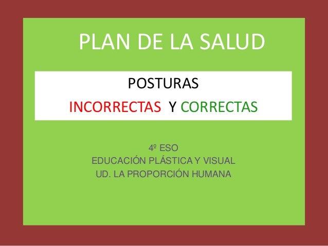 PLAN DE LA SALUD POSTURAS INCORRECTAS Y CORRECTAS 4º ESO EDUCACIÓN PLÁSTICA Y VISUAL UD. LA PROPORCIÓN HUMANA