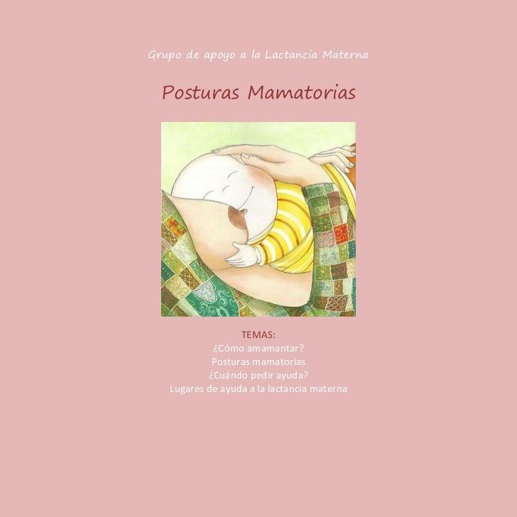 Grupo de apoyo a la Lactancia Materna  Posturas Mamatorias                  TEMAS:            ¿Cómo amamantar?            ...