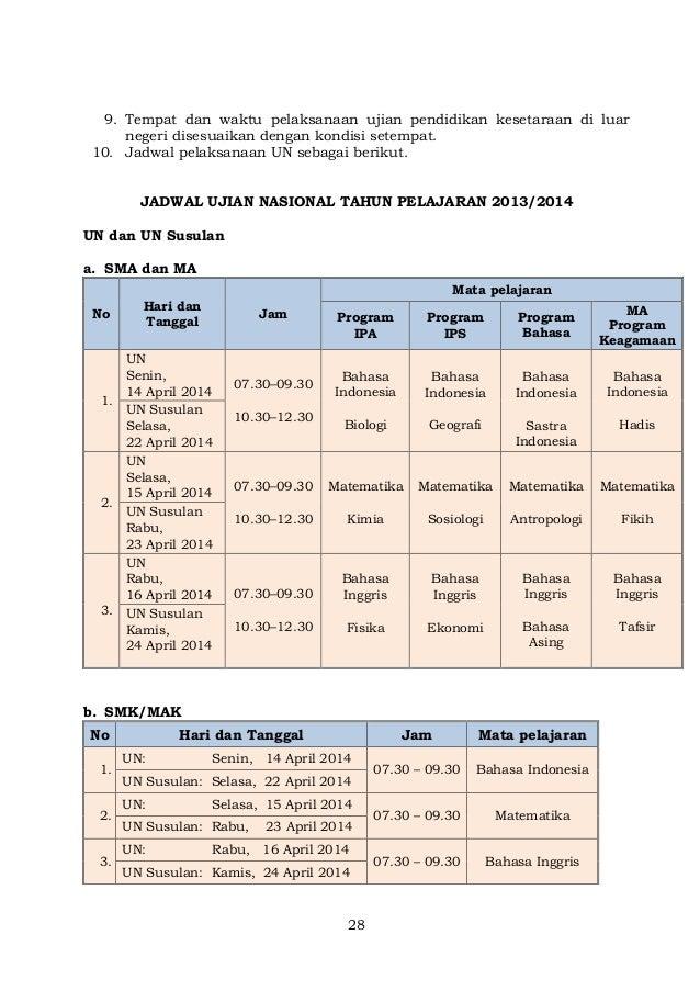 Jadwal Pelaksanaan Ujian Nasional Dan Usbn Smp Sma Smk Tahun 2017 Jadwal Pelaksanaan Ujian