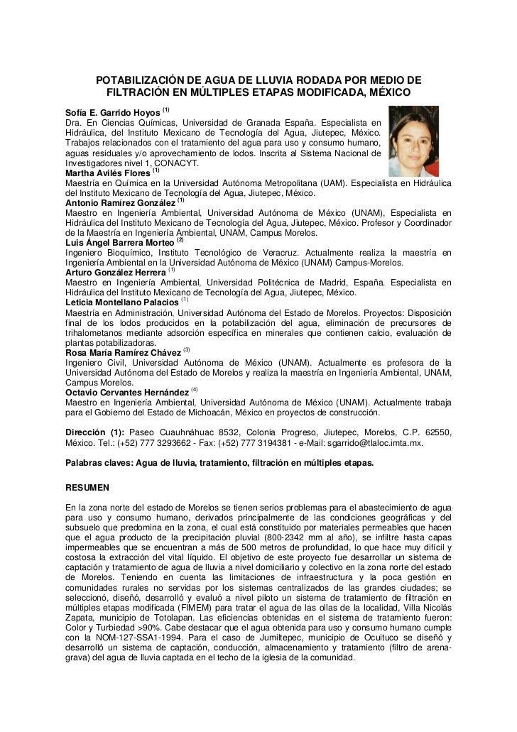 POTABILIZACIÓN DE AGUA DE LLUVIA RODADA POR MEDIO DE        FILTRACIÓN EN MÚLTIPLES ETAPAS MODIFICADA, MÉXICOSofía E. Garr...