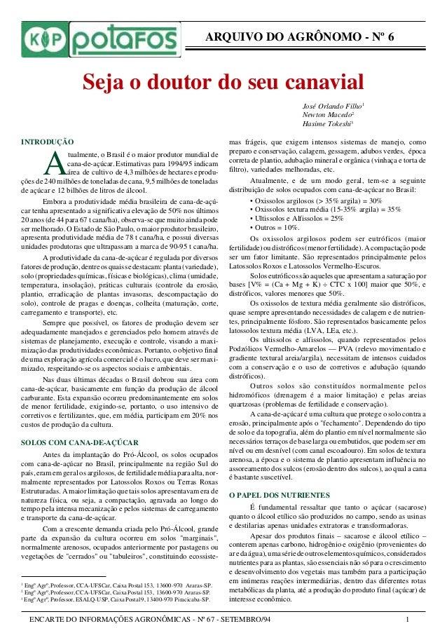 ENCARTE DO INFORMAÇÕES AGRONÔMICAS - Nº 67 - SETEMBRO/94 1 ARQUIVO DO AGRÔNOMO - Nº 6 INTRODUÇÃO A tualmente, o Brasil é o...