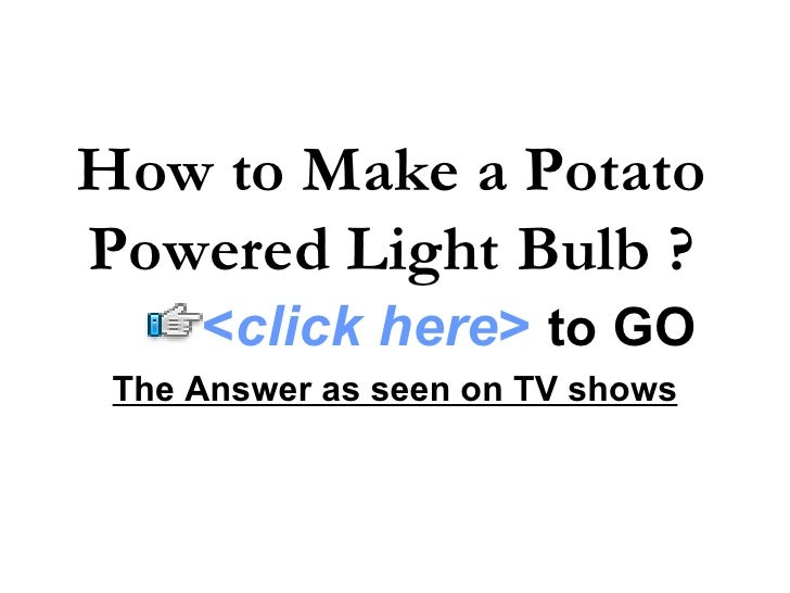 how to make potato powered car
