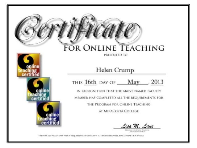 programme for online teaching certificate