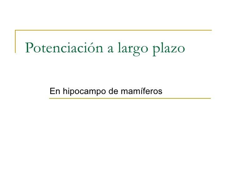 Potenciación a largo plazo En hipocampo de mamíferos