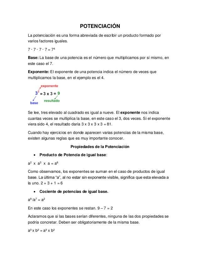 POTENCIACIÓN La potenciación es una forma abreviada de escribir un producto formado por varios factores iguales. 7 · 7 · 7...