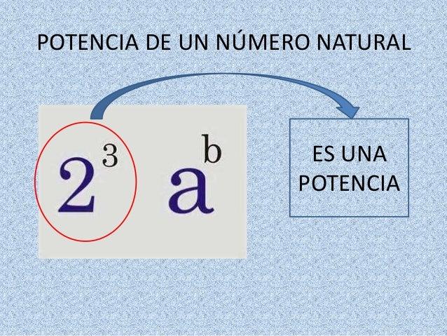 POTENCIA DE UN NÚMERO NATURAL  ES UNA POTENCIA