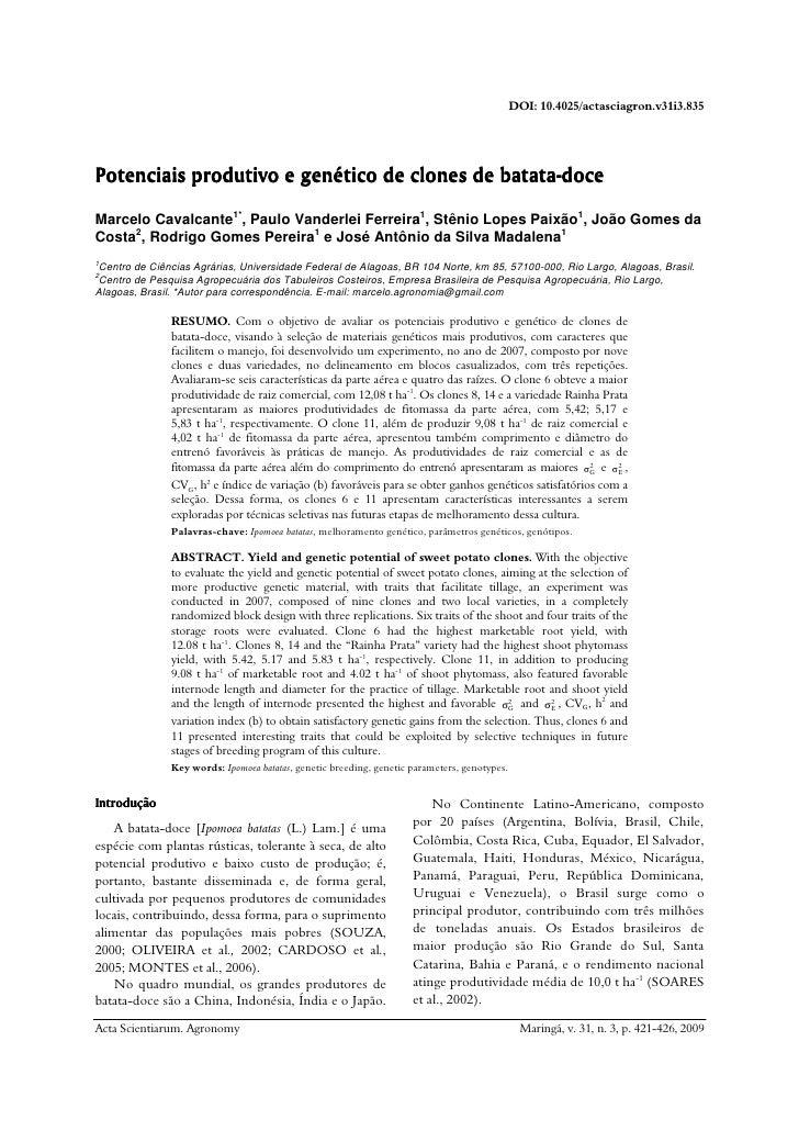 DOI: 10.4025/actasciagron.v31i3.835     Potenciais produtivo e genético de clones de batata-doce                          ...