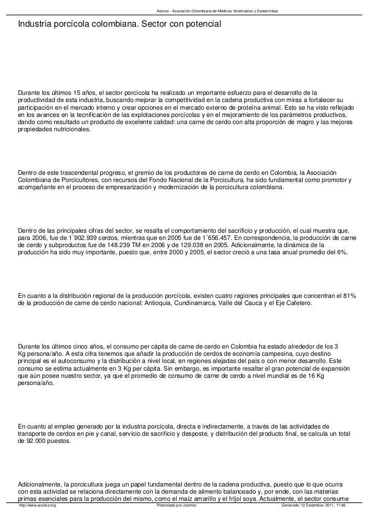 Acovez - Asociación Colombiana de Médicos Veterinarios y ZootecnistasIndustria porcícola colombiana. Sector con potencialD...