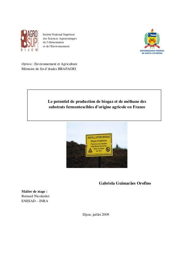 Institut National Supérieur  des Sciences Agronomiques  de l'Alimentation  et de l'Environnement  Option : Environnement e...
