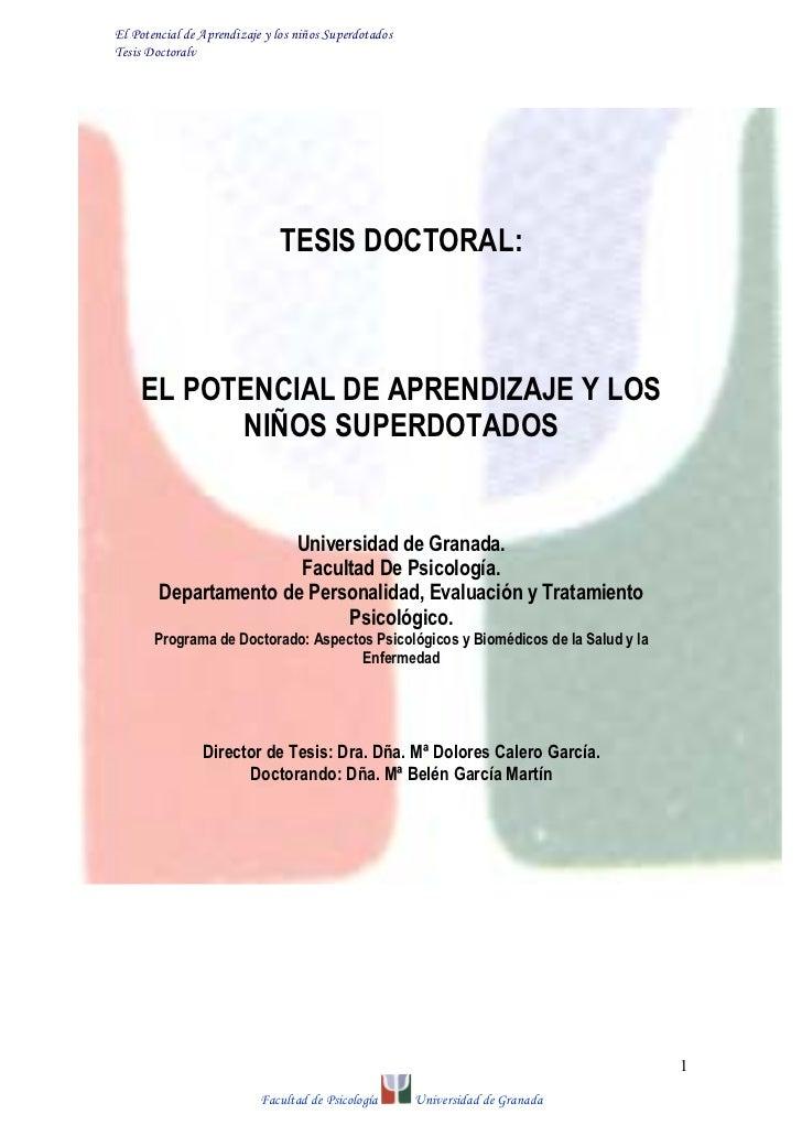 El Potencial de Aprendizaje y los niños SuperdotadosTesis Doctoralv                              TESIS DOCTORAL:    EL POT...