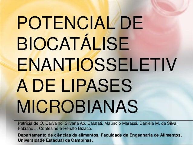 POTENCIAL DE BIOCATÁLISE ENANTIOSSELETIV A DE LIPASES MICROBIANAS Patrícia de O. Carvalho, Silvana Ap. Calafati, Maurício ...