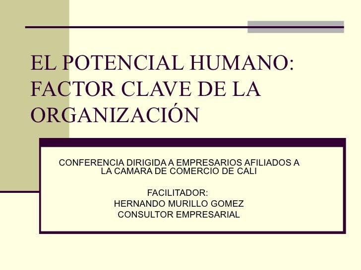 EL POTENCIAL HUMANO: FACTOR CLAVE DE LA ORGANIZACIÓN  CONFERENCIA DIRIGIDA A EMPRESARIOS AFILIADOS A LA CAMARA DE COMERCIO...