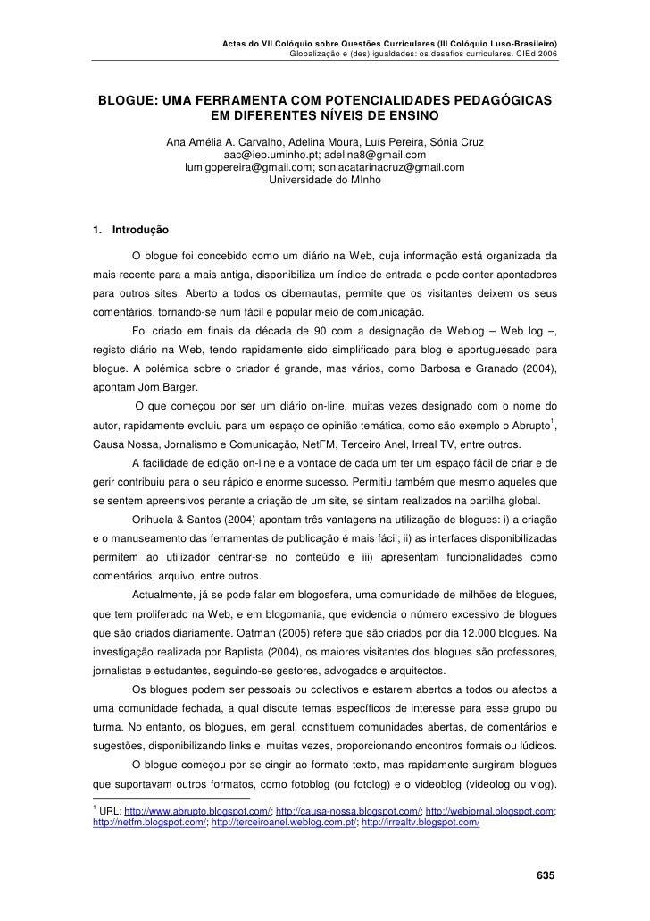 Actas do VII Colóquio sobre Questões Curriculares (III Colóquio Luso-Brasileiro)                                          ...