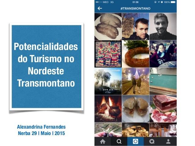 Alexandrina Fernandes Nerba | 29 de Maio de 2015 Potencialidades do Turismo no Nordeste Transmontano Alexandrina Fernandes...