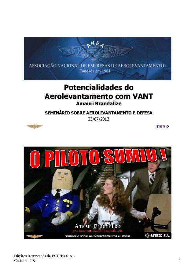 Potencialidades do Aerolevantamento com VANT Amauri Brandalize SEMINÁRIO SOBRE AEROLEVANTAMENTO E DEFESA 23/07/2013 ESTEIO...