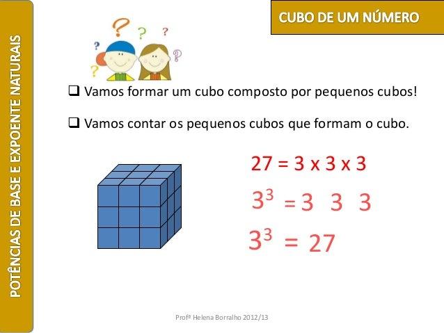  Vamos formar um cubo composto por pequenos cubos! Vamos contar os pequenos cubos que formam o cubo.                    ...