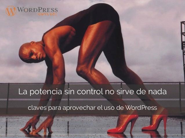 La potencia sin control no sirve de nada claves para aprovechar el uso de WordPress