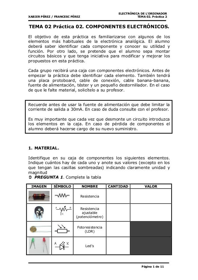 ELECTRÒNICA DE L'ORDINADOR XABIER PÉREZ / FRANCESC PÉREZ TEMA 02. Pràctica 2 Página 1 de 11 TEMA 02 Práctica 02. COMPONENT...