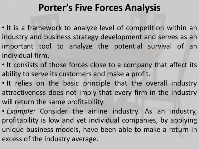 porter's five forces of industry attractiveness Michael porter's five forces model of competition indicates that the five forces interact to determine the intensity or strength of competition, which ultimately determines the profitability of the industry and the probability of earning above-average returns.