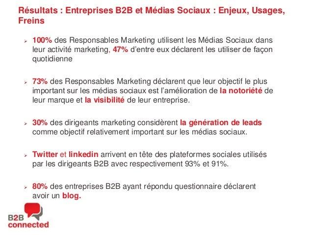 Résultats : Entreprises B2B et Médias Sociaux : Enjeux, Usages, Freins   100% des Responsables Marketing utilisent les Mé...