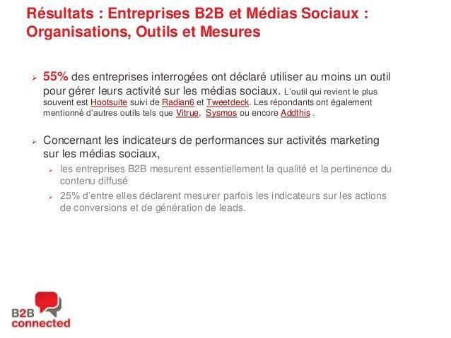 Résultats : Entreprises B2B et Médias Sociaux : Organisations, Outils et Mesures   55% des entreprises interrogées ont dé...