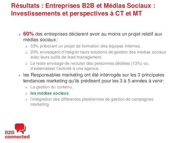Résultats : Entreprises B2B et Médias Sociaux : Investissements et perspectives à CT et MT    60% des entreprises déclare...