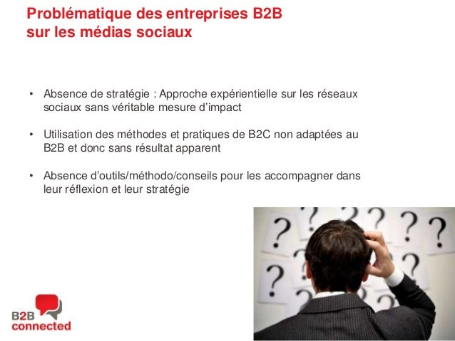 Problématique des entreprises B2B sur les médias sociaux  • Absence de stratégie : Approche expérientielle sur les réseaux...