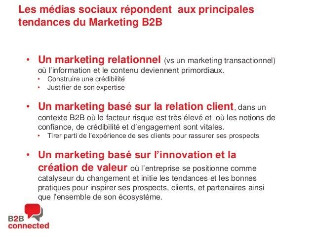 Les médias sociaux répondent aux principales tendances du Marketing B2B • Un marketing relationnel (vs un marketing transa...