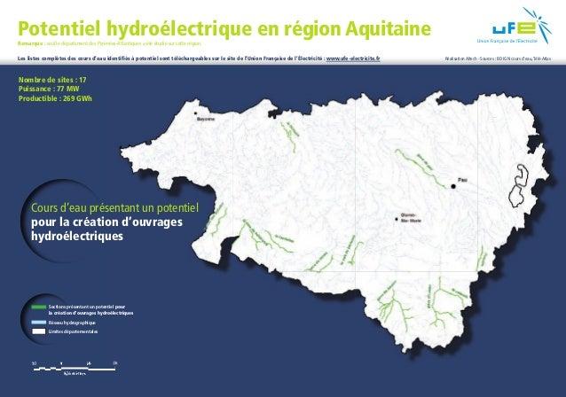 Potentiel hydroélectrique en région Aquitaine    Remarque : seul le département des Pyrénées-Atlantiques a été étudié sur ...