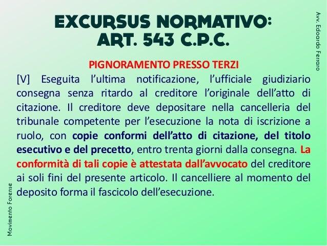 EXCURSUS NORMATIVO: ART. 543 C.P.C. MovimentoForense Avv.EdoardoFerraro PIGNORAMENTO PRESSO TERZI [V] Eseguita l'ultima no...
