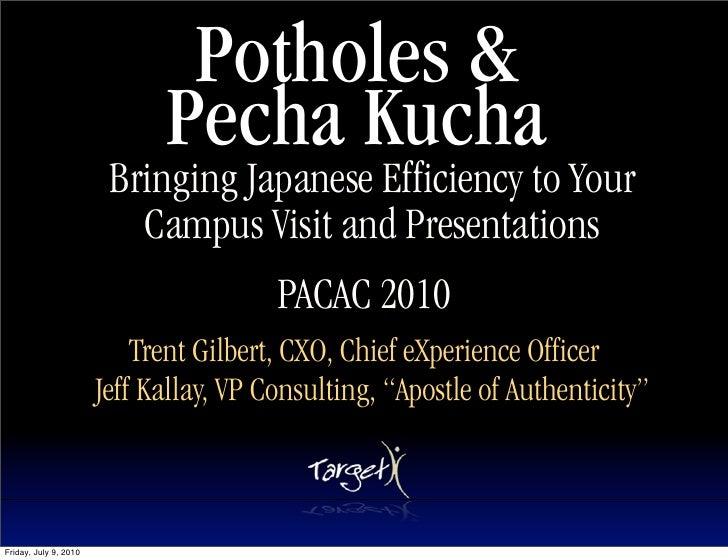 Potholes &                              Pecha Kucha                         Bringing Japanese Efficiency to Your          ...