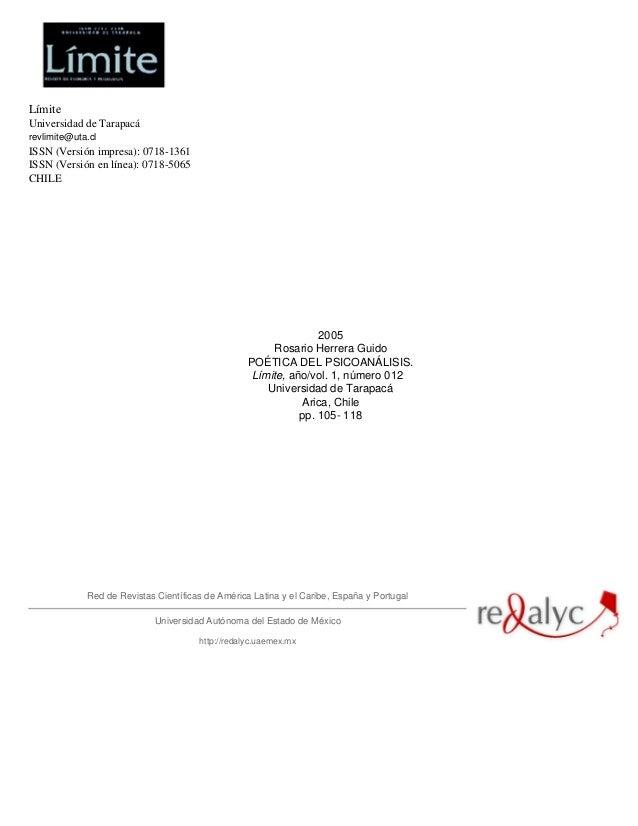 Límite Universidad de Tarapacá revlimite@uta.cl ISSN (Versión impresa): 0718-1361 ISSN (Versión en línea): 0718-5065 CHILE...