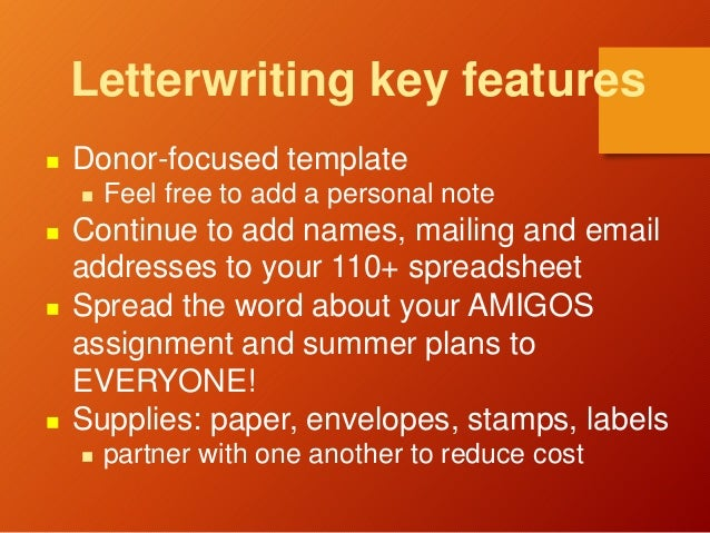 Letterwriting key features  Donor-focused template  Feel free to add a personal note  Continue to add names, mailing an...