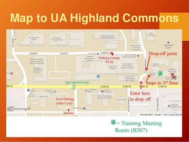 Map to UA Highland Commons