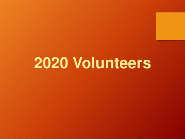 2020 Volunteers