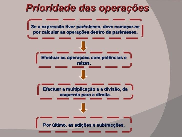 Prioridade das operações Se a expressão tiver parênteses, deve começar-se por calcular as operações dentro de parênteses. ...
