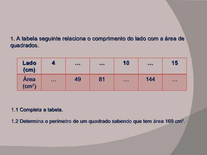1 . A tabela seguinte relaciona o comprimento do lado com a área de quadrados. 1.1 Completa a tabela. 1.2 Determina o perí...