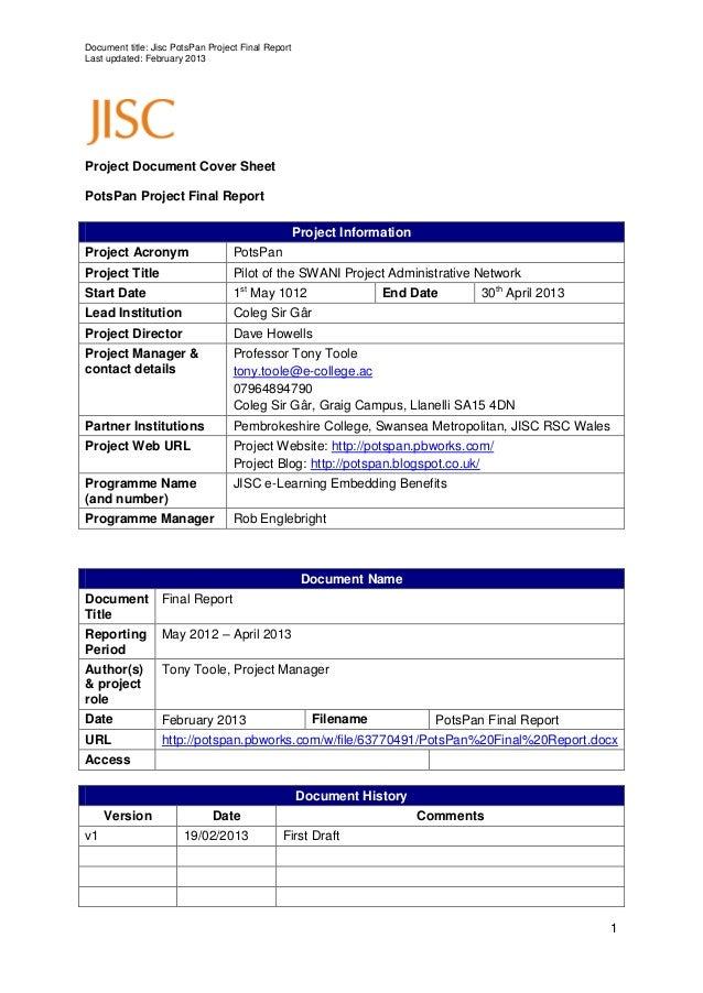 Document title: Jisc PotsPan Project Final ReportLast updated: February 2013Project Document Cover SheetPotsPan Project Fi...