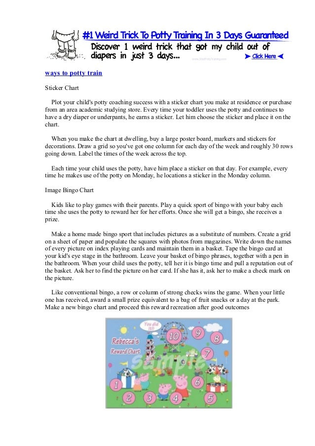 ways to potty train Sticker Chart Plot your child's potty coaching success with a sticker chart you make at residence or p...