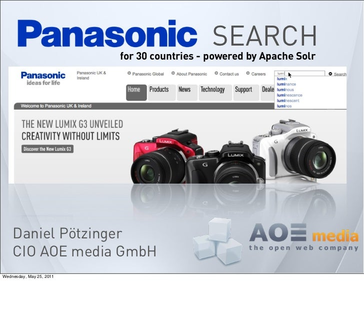 SEARCH                          for 30 countries - powered by Apache Solr    Daniel Pötzinger    CIO AOE media GmbHWednesd...
