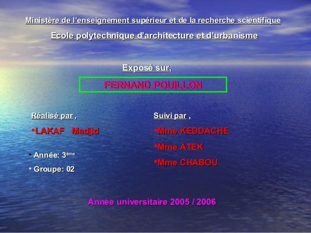 Ecole polytechnique d'architecture et d'urbanismeEcole polytechnique d'architecture et d'urbanismeMinistère de l'enseignem...