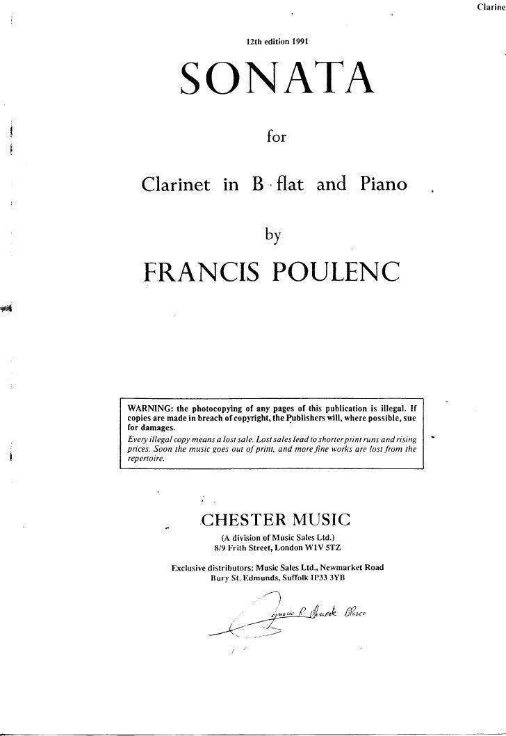 Poulenc   sonate pour clarinette et piano