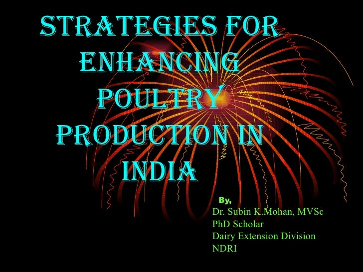 Strategies for Enhancing poultry production in india By,   Dr. Subin K.Mohan, MVSc PhD Scholar Dairy Extension Division NDRI